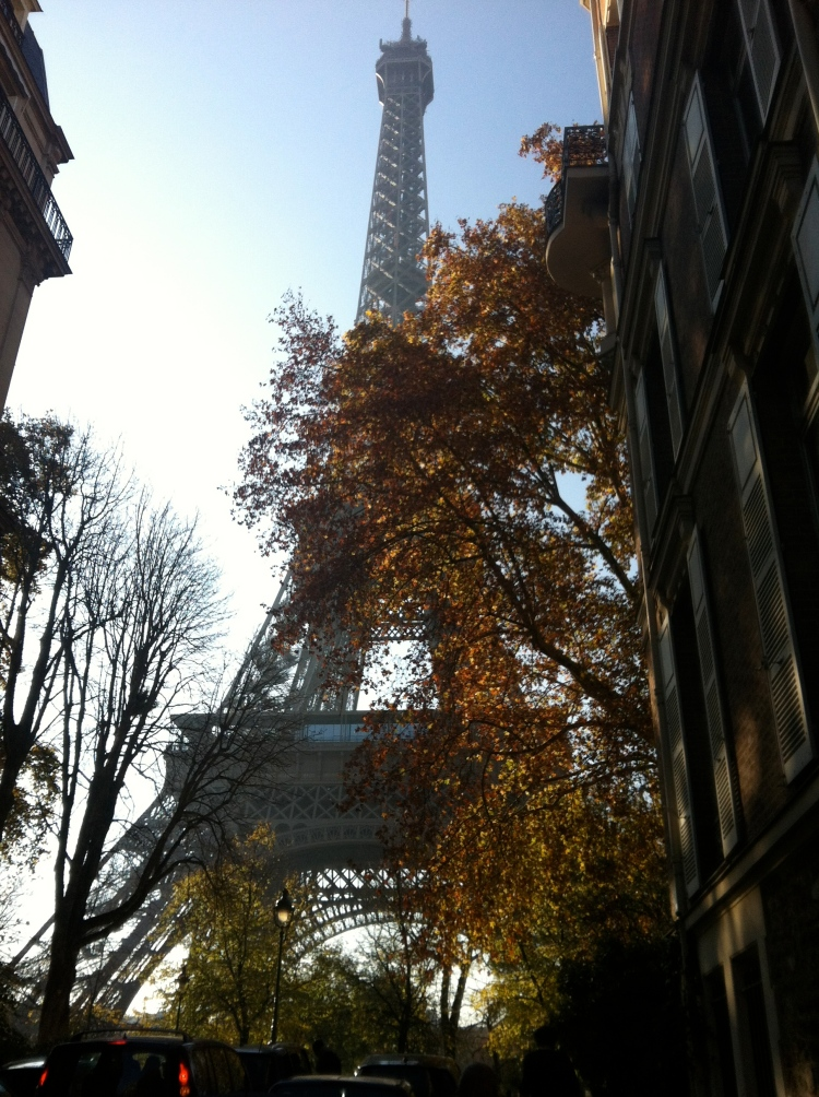 Eiffel Tower view from a side street
