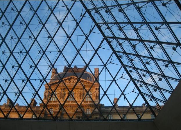 Looking Up from Inside the Louvre. Paris, France. Taken with Canon digital camera
