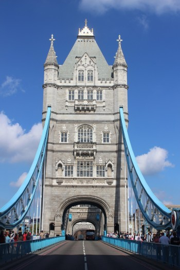 Walking along Tower Bridge, London