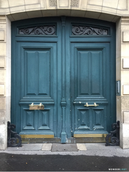 Blue door in Paris, France
